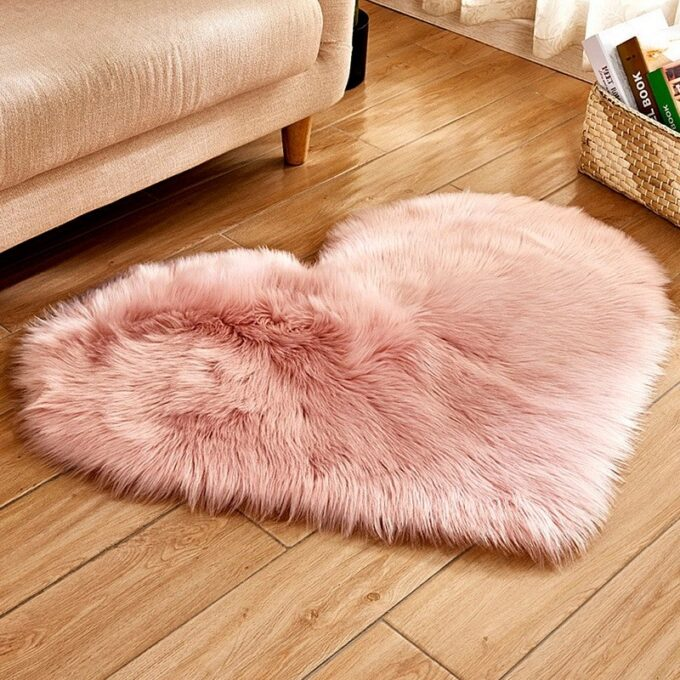 Heart Shaped Fluffy Carpet
