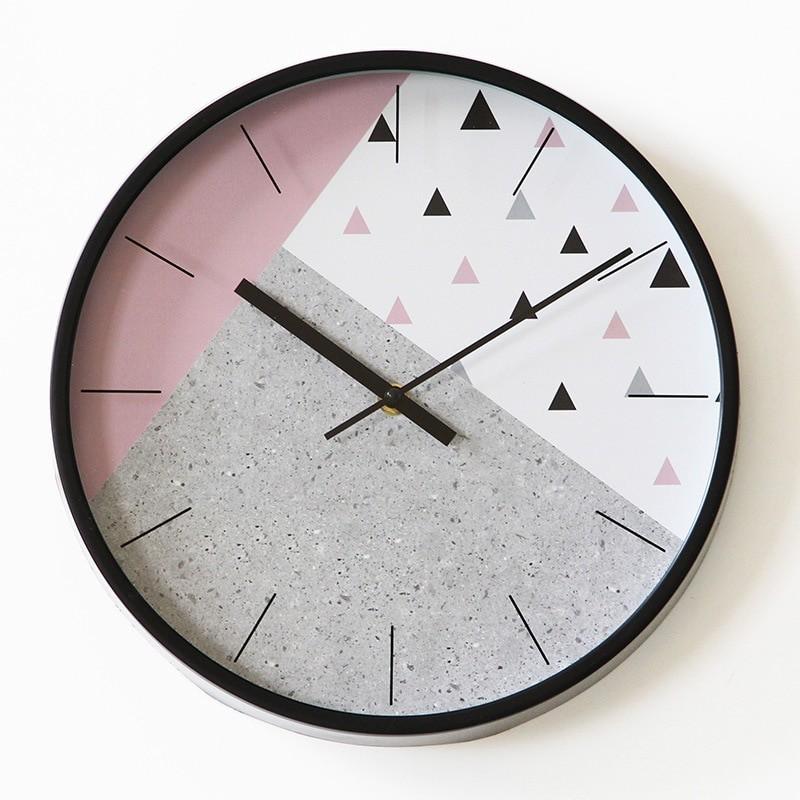 12-inch Creative Minimalist Clock Green Round Wall Clock Modern Design Kitchen Bedroom Study Mute Decorative Quartz Clock