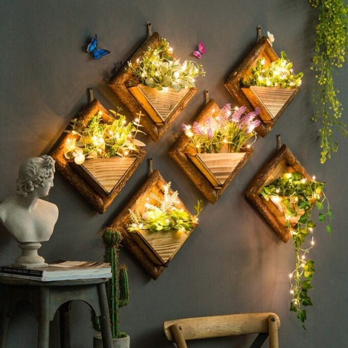 Wooden Hanging Wall Vase