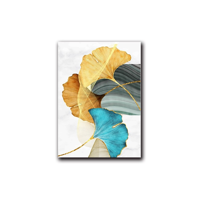 Gold Plant Leaf Wall Painting