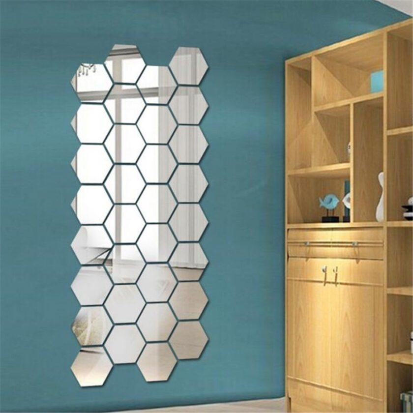 Hexagon Mirror Wall Sticker (12 pieces)