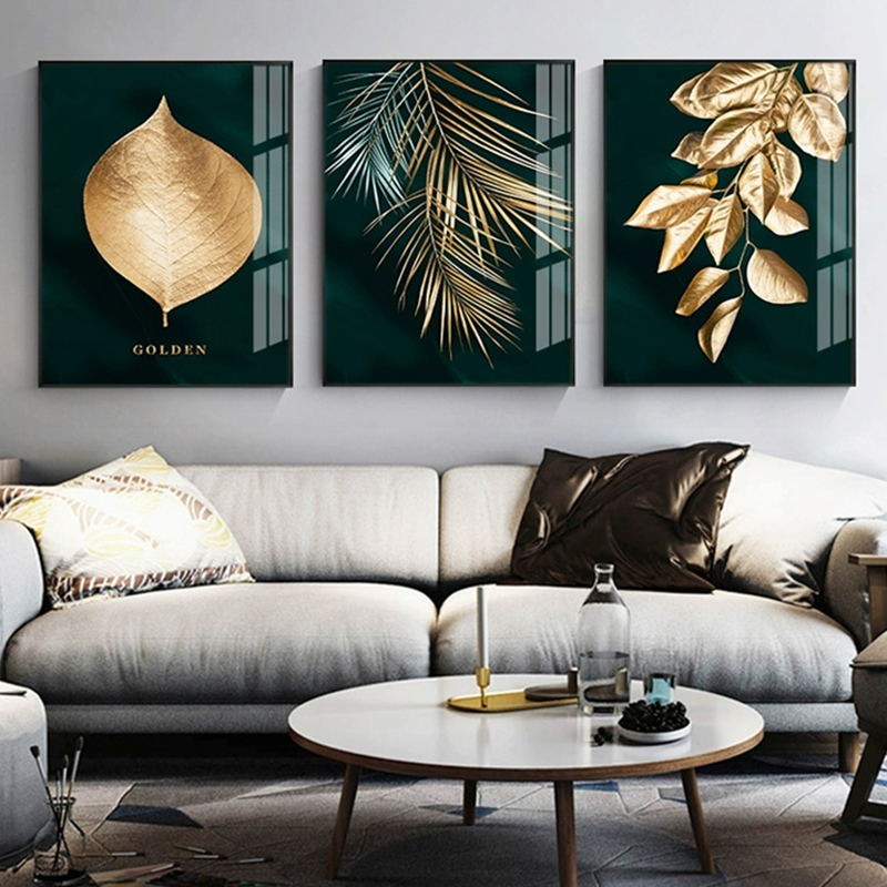 Golden Plant Leaves Wall Painting